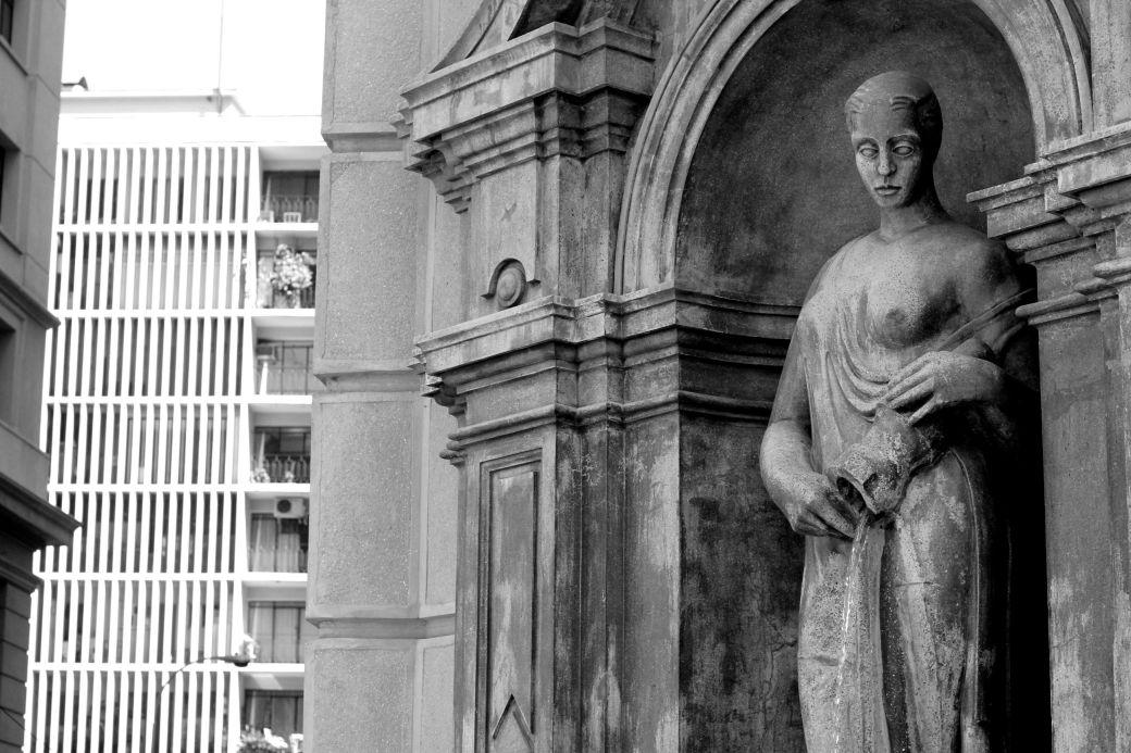 chile santiago government house la moneda area statue