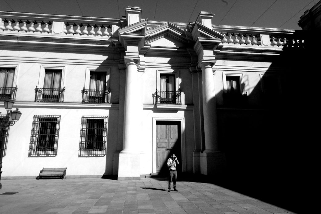 chile santiago government house la moneda black white