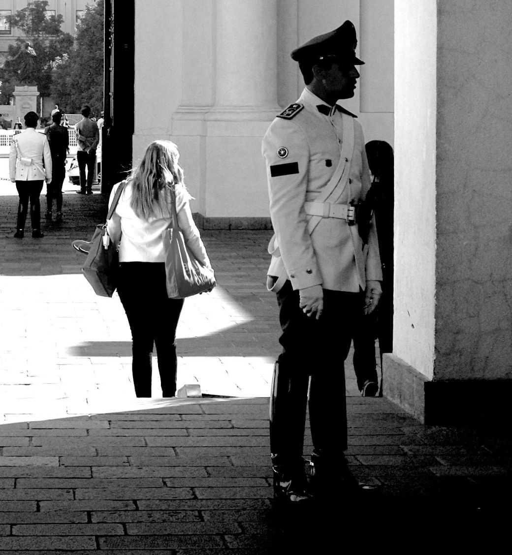 chile santiago government house la moneda guard black white