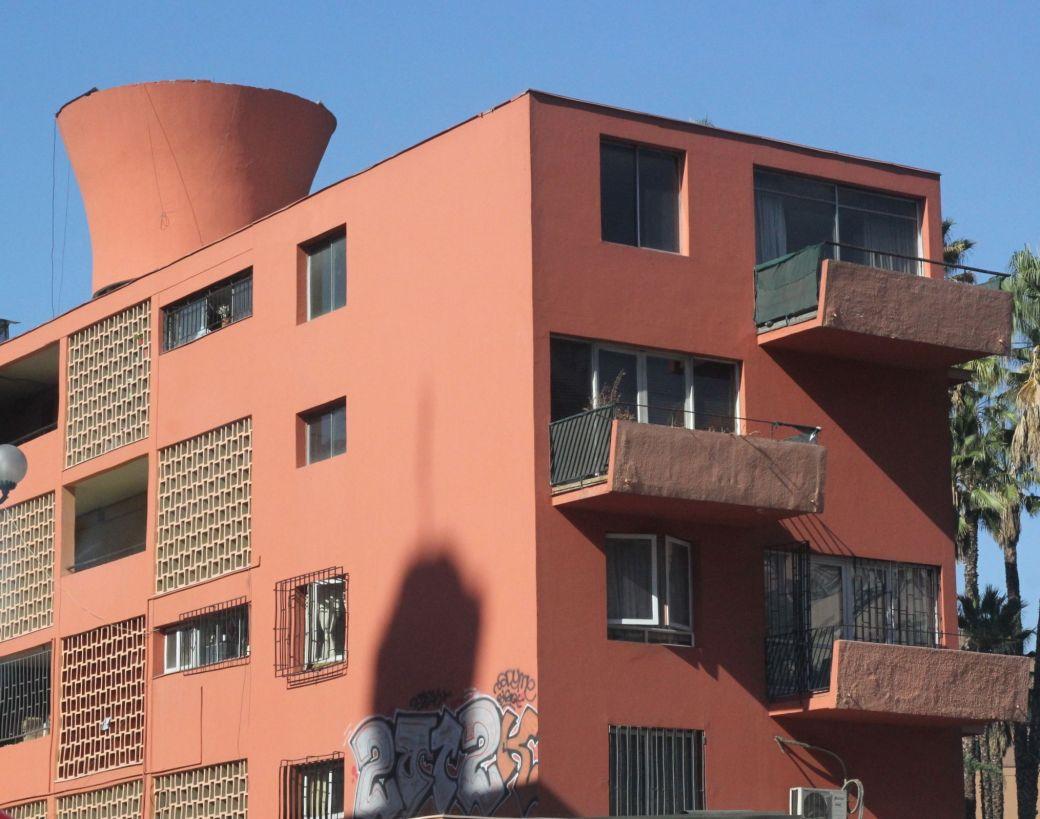 chile santiago red apartment building