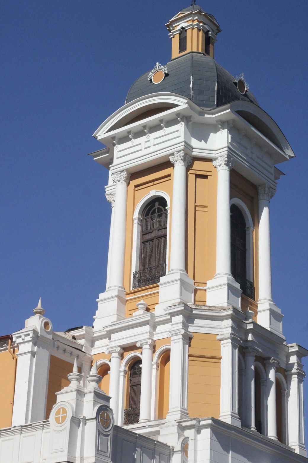chile santiago white and yellow church