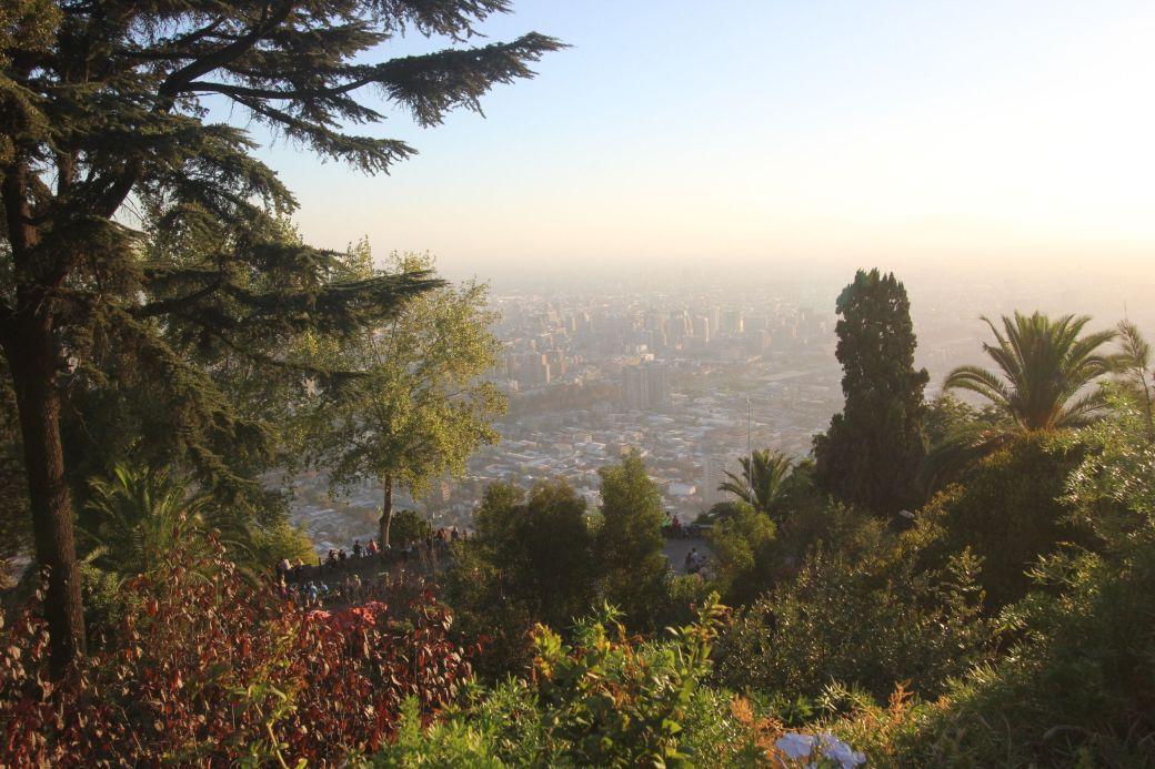 santiago chile san cristobal city view vegetation