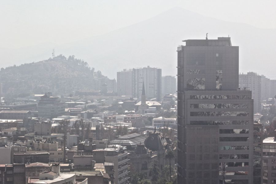 santiago chile santa lucia hill hill top view buildings andes background 1