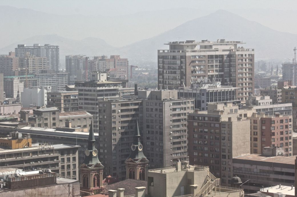santiago chile santa lucia hill hill top view buildings andes background 2