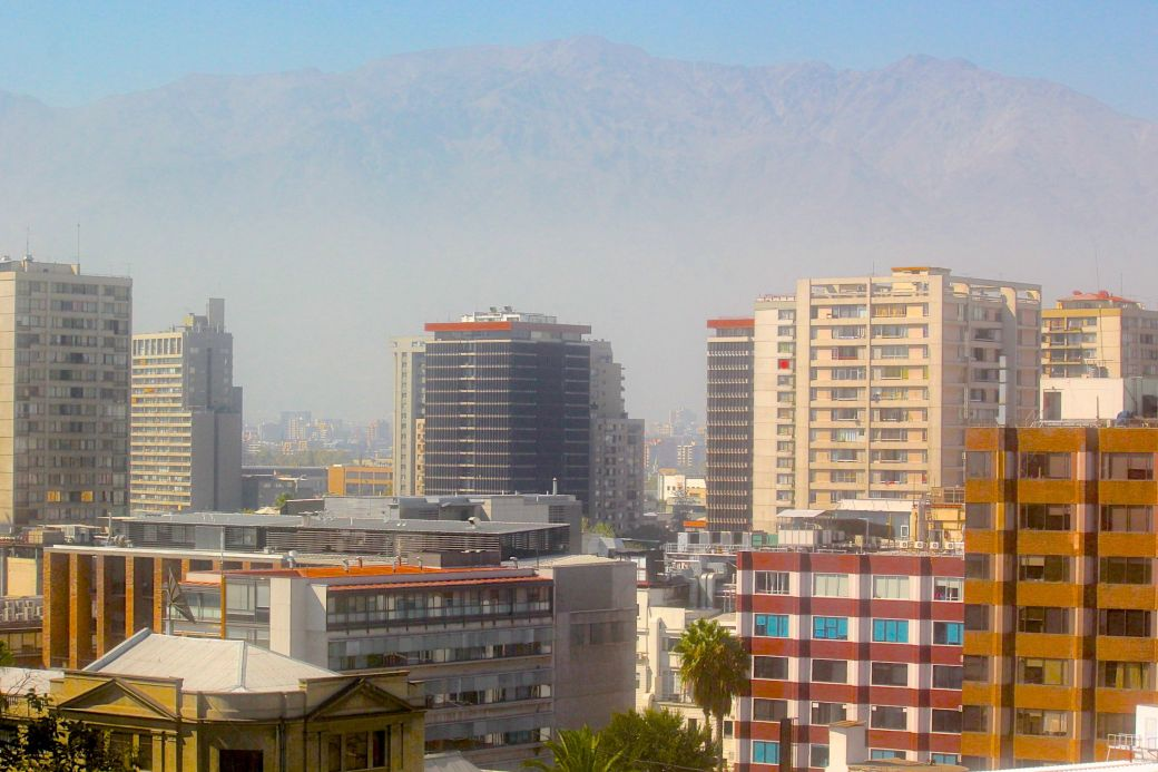 santiago chile santa lucia hill hill top view buildings Andes background