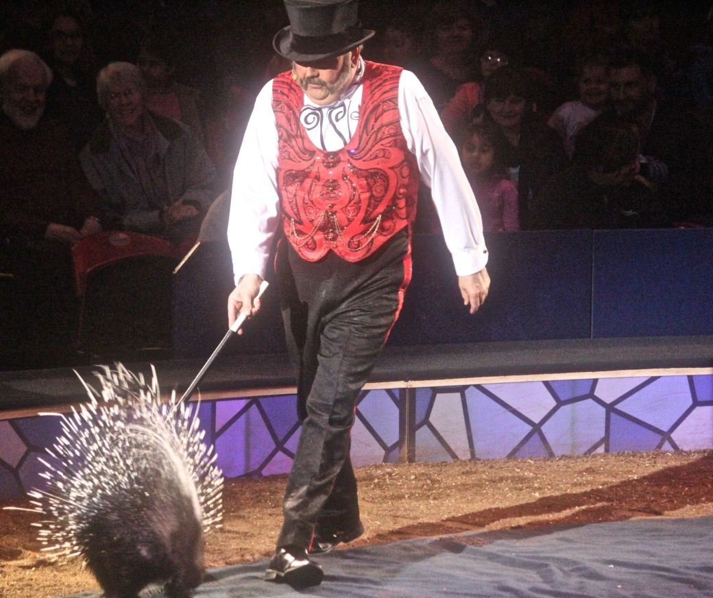boston big apple circus performance april 29 2015 ring master with porcupine