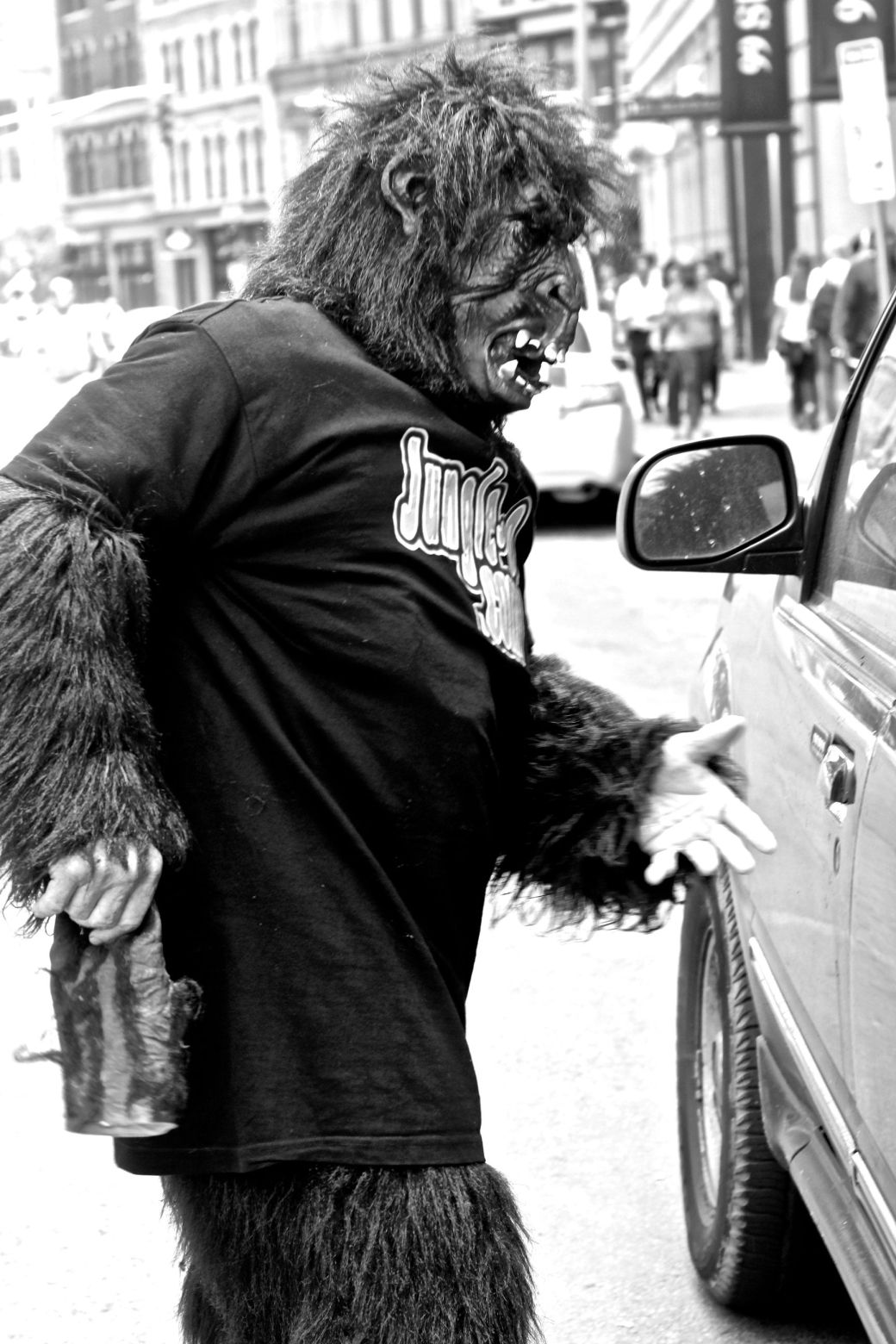 boston downtown crossing man in gorilla suit