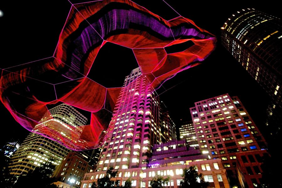 boston greenway Janet Echelman sculpture night 1