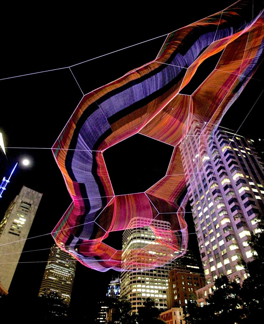 boston greenway Janet Echelman sculpture night 2