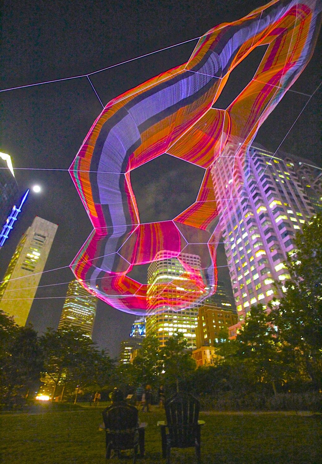 boston greenway Janet Echelman sculpture night 3