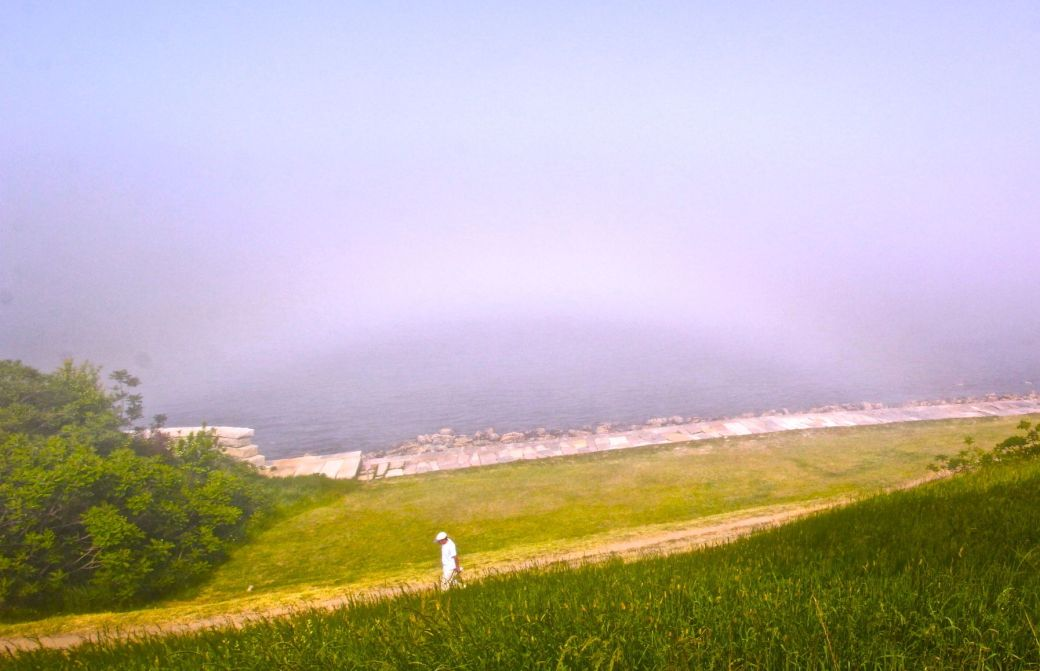 boston harbor island george's island ring fog