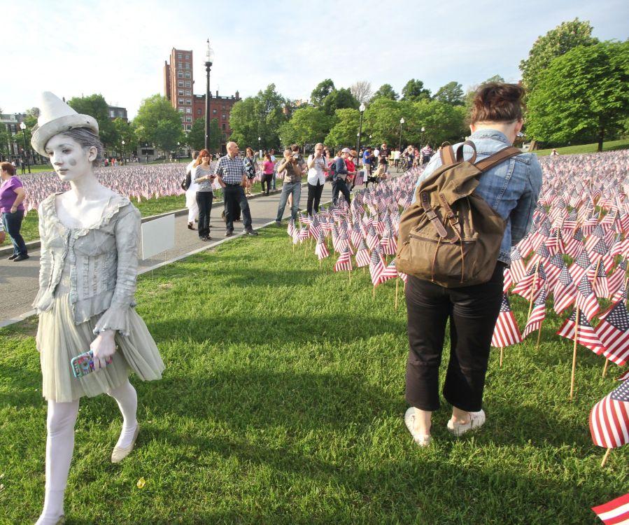 boston memorial day flags boston common woman in white clown outfit 1