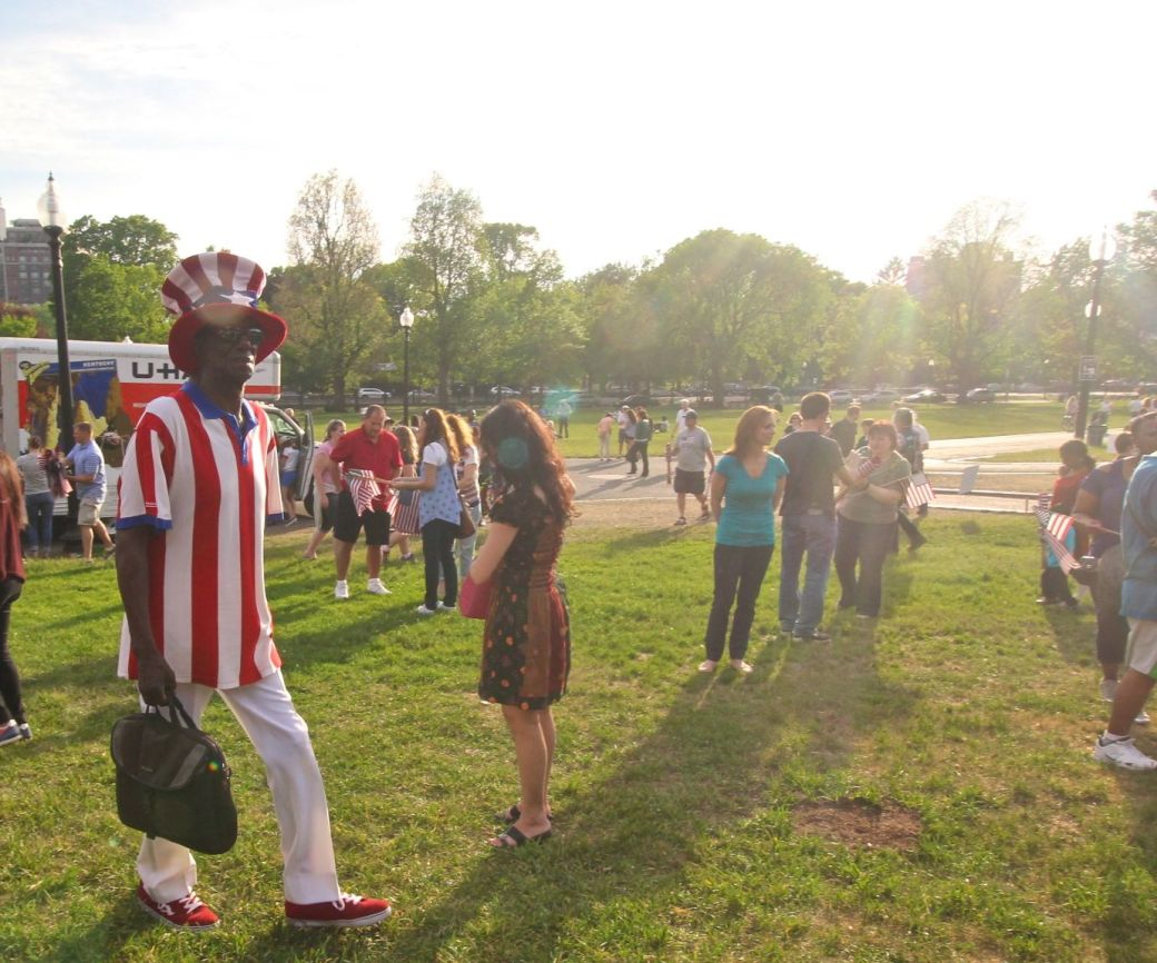 boston memorial day memorial boston common man in American flag outfit