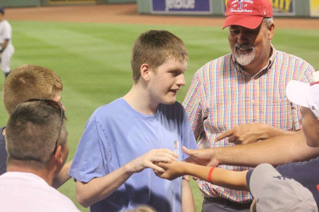 boston fenway park red sox new york yankee boston red sox game july 11 2015 man hearing game ball 4