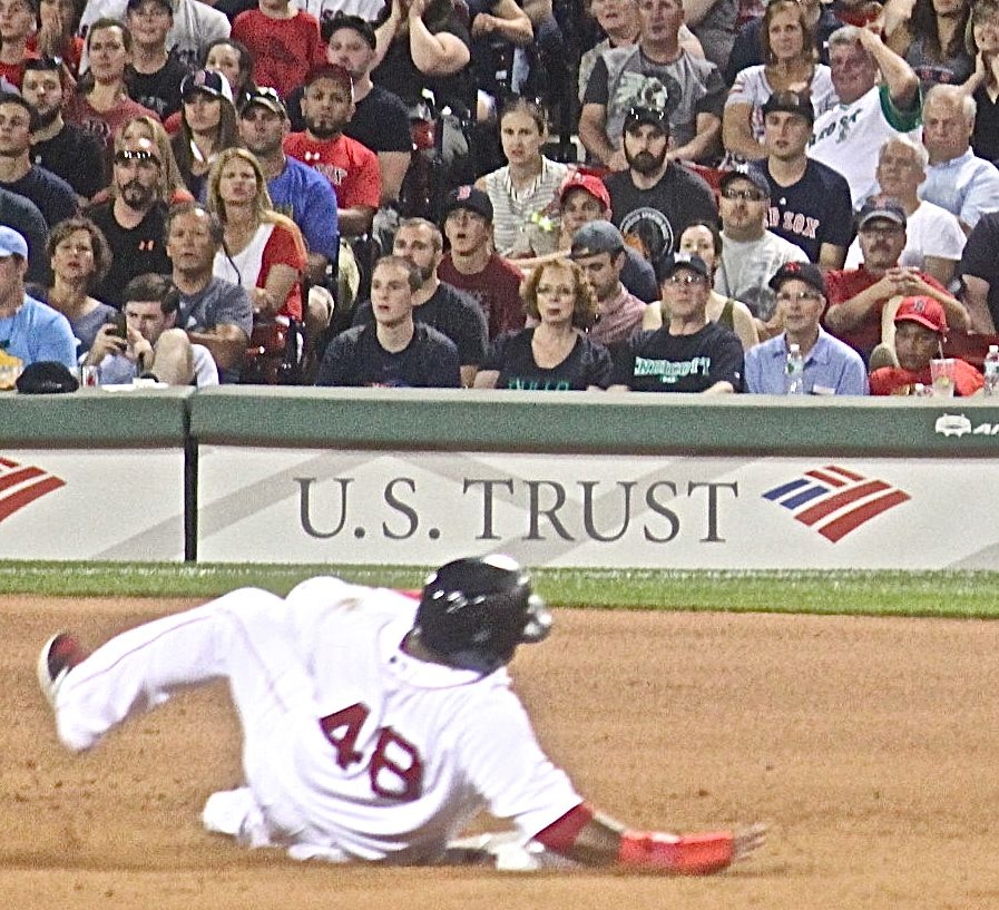 boston fenway park red sox new york yankee boston red sox game july 11 2015 number 48 sliding