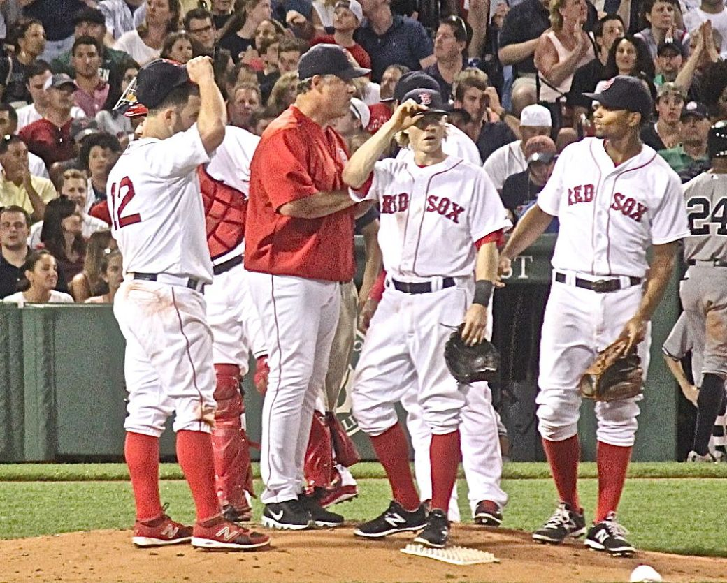 boston fenway park red sox new york yankee boston red sox game july 11 2015 players at the mound