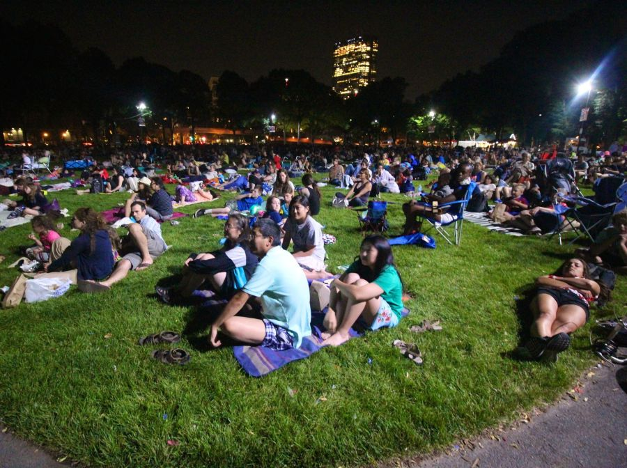 boston hatch shell night movie people lawn view