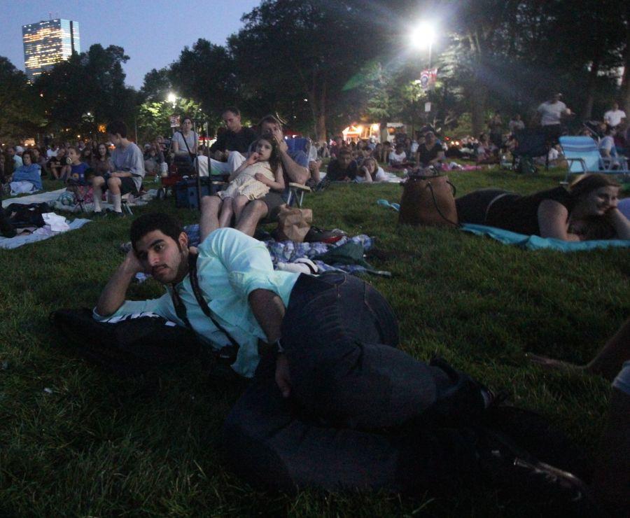 boston hatch shell night movie people watching movie