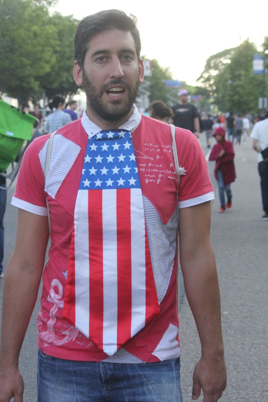 boston july 4th fireworks celebration man with American flag tie