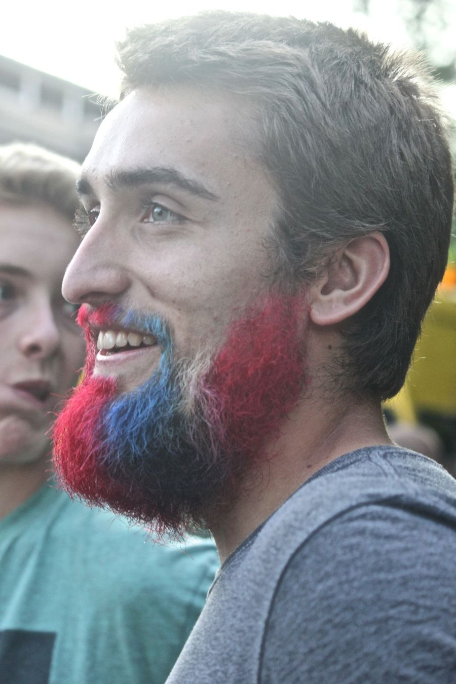 boston july 4th fireworks celebration man with red white and blue beard