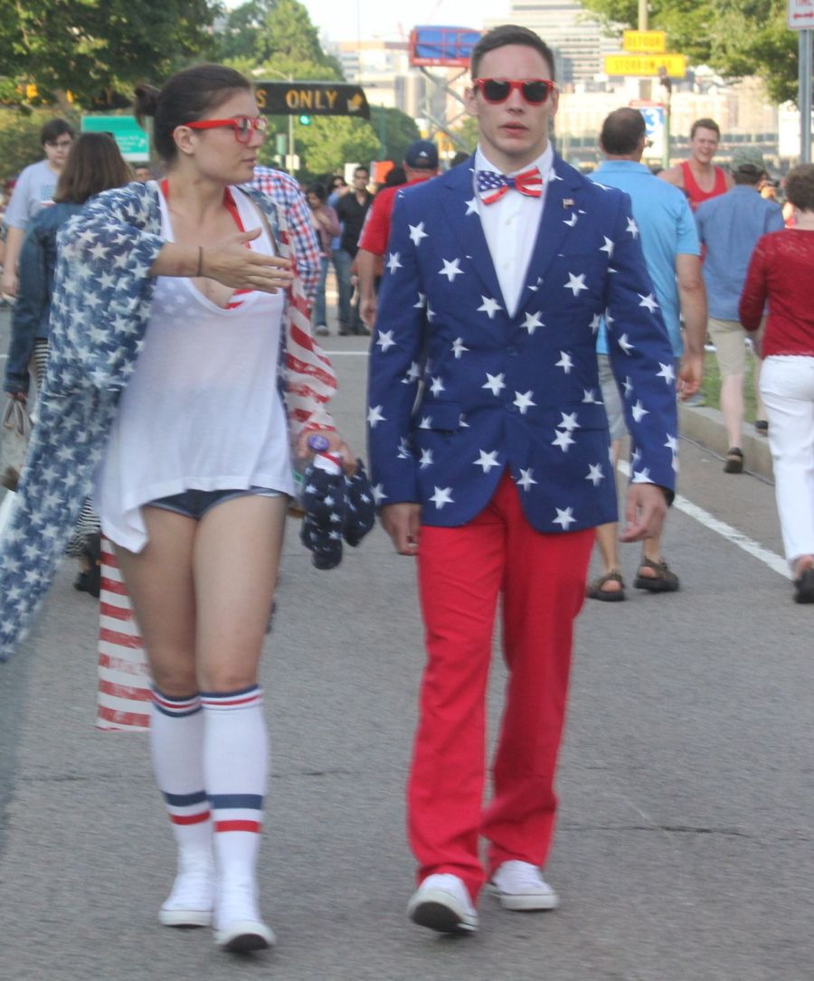 boston july 4th fireworks celebration man with red white and blue outfit