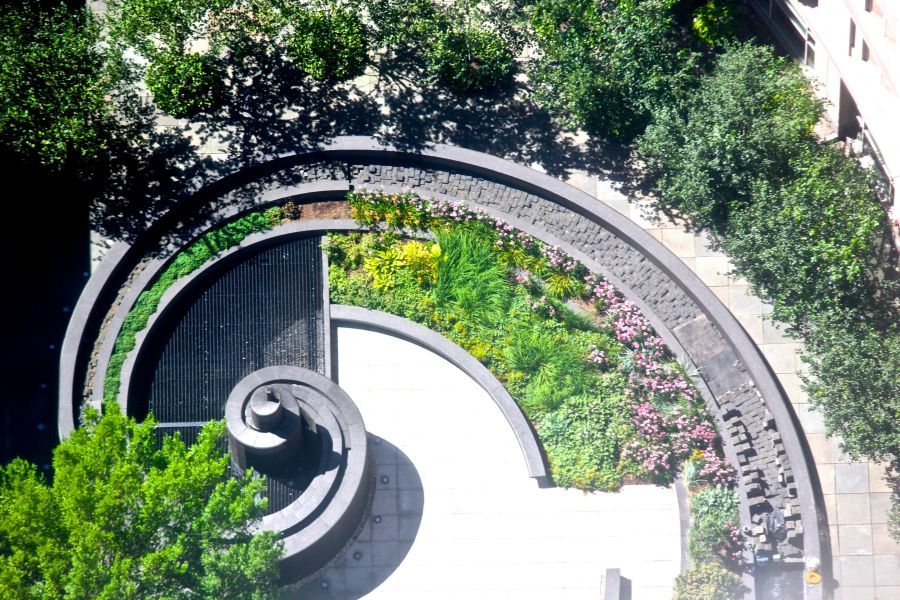 boston prudential center skywalk curved planter