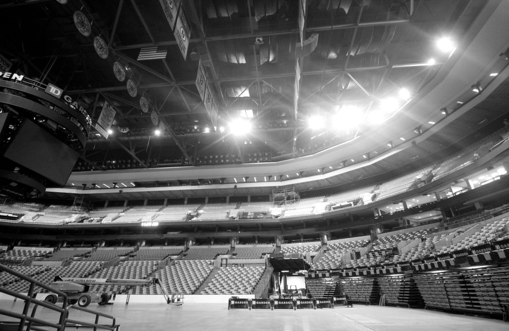 boston td garden floor view black white