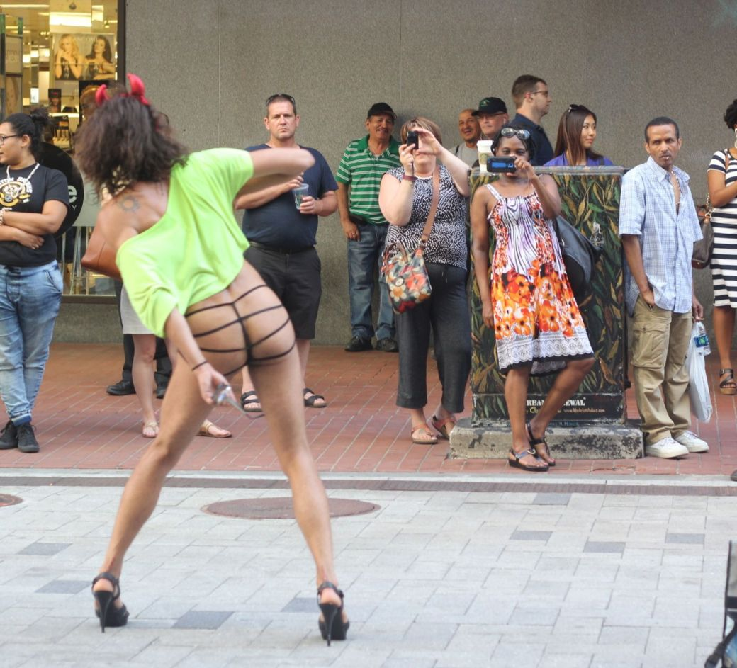 boston downtown crossing man in thong high heels singing dancing in front of macy's 10