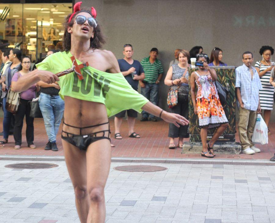 boston downtown crossing man in thong high heels singing dancing in front of macy's 12