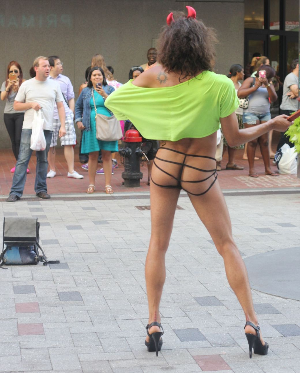 boston downtown crossing man in thong high heels singing dancing in front of macy's 15