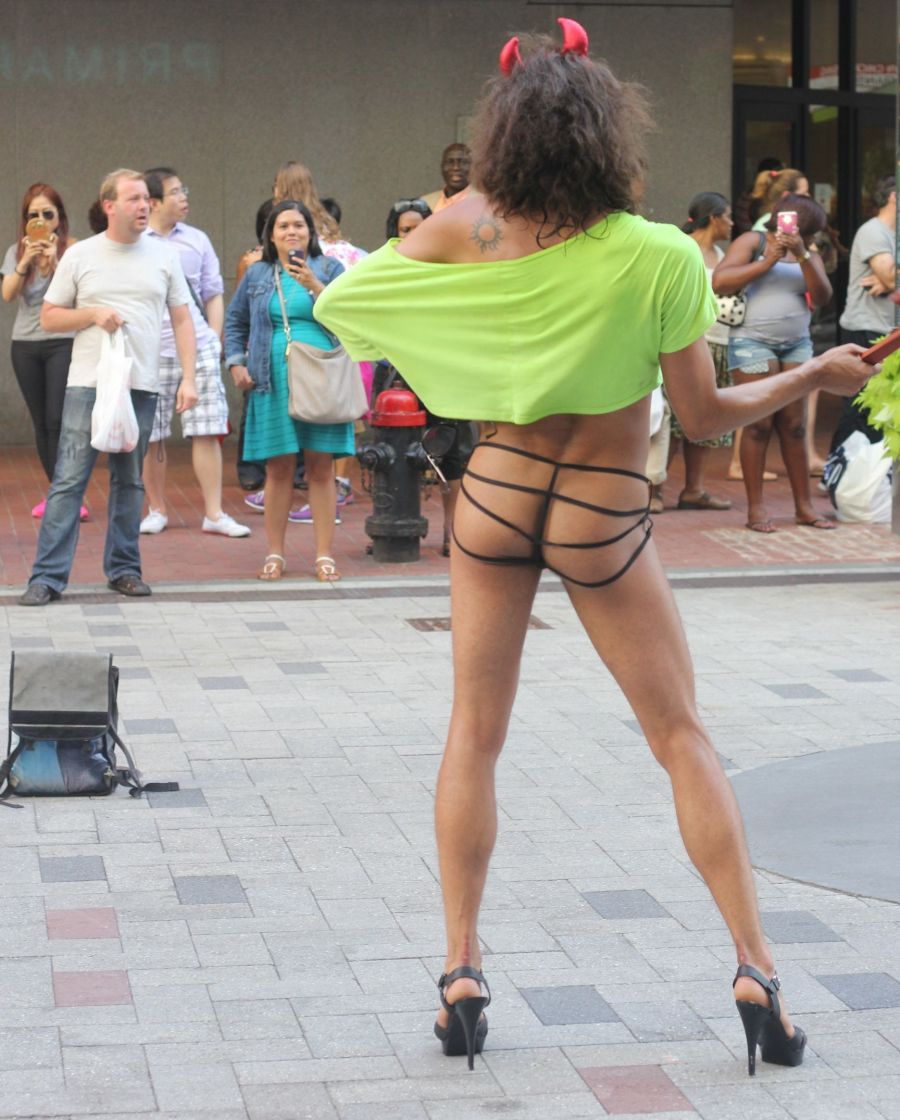 boston downtown crossing man in thong high heels singing dancing in front of macy's 15