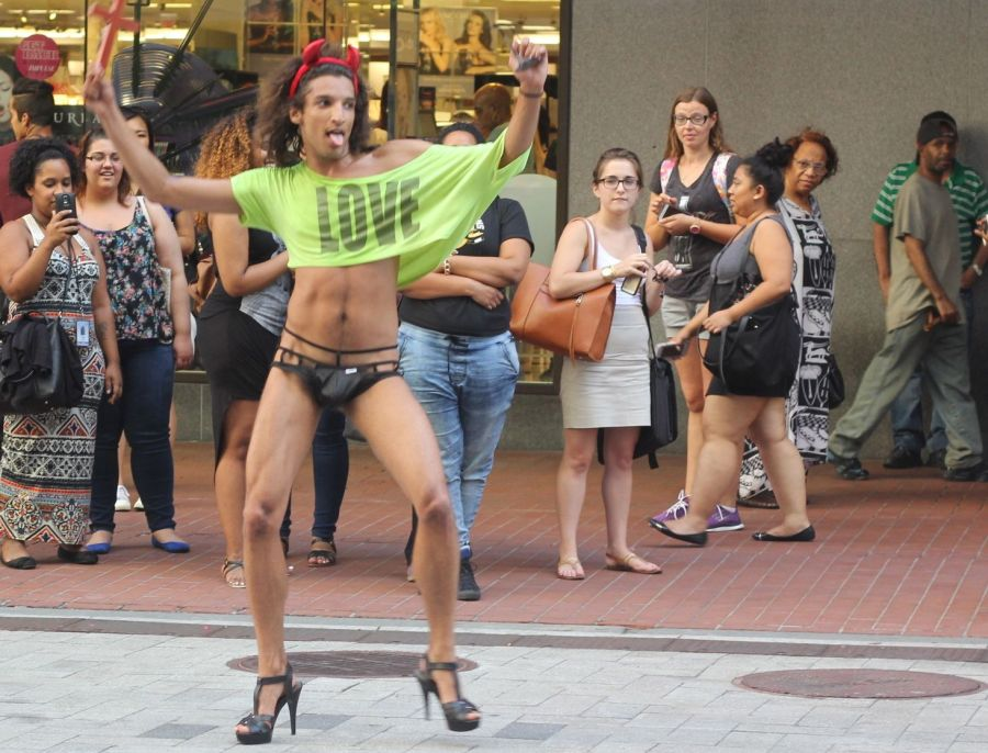 boston downtown crossing man in thong high heels singing dancing in front of macy's 17
