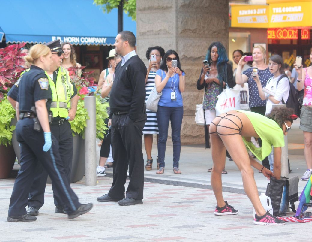 boston downtown crossing man in thong high heels singing dancing in front of macy's 22