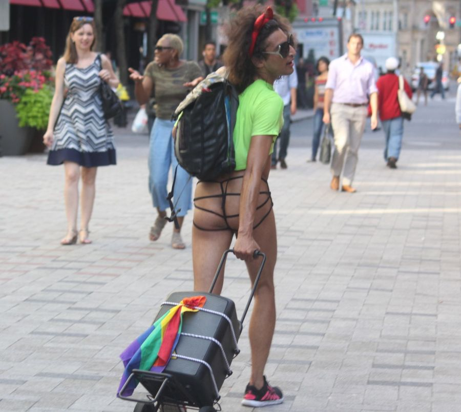boston downtown crossing man in thong high heels singing dancing in front of macy's 23