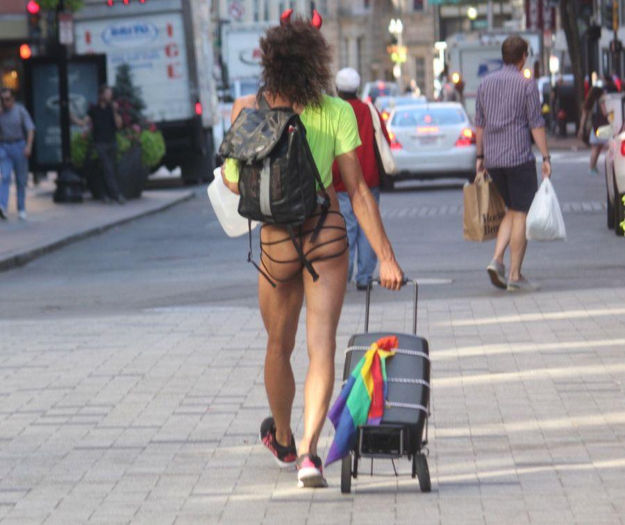 boston downtown crossing man in thong high heels singing dancing in front of macy's 25