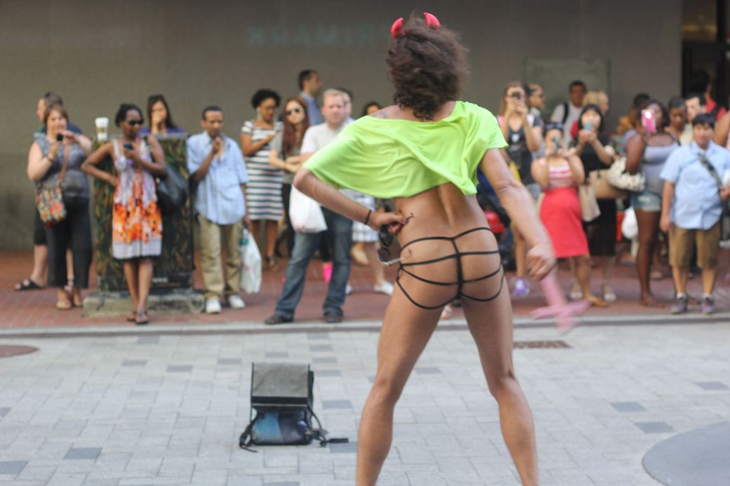 boston downtown crossing man in thong high heels singing dancing in front of macy's 5
