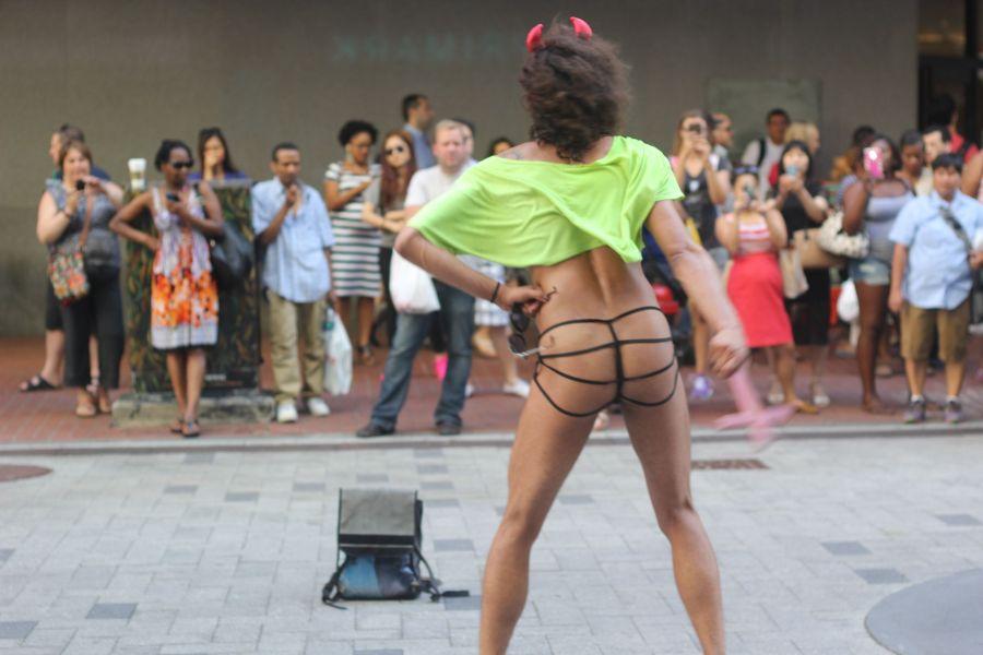 boston downtown crossing man in thong high heels singing dancing in front of macy's 5