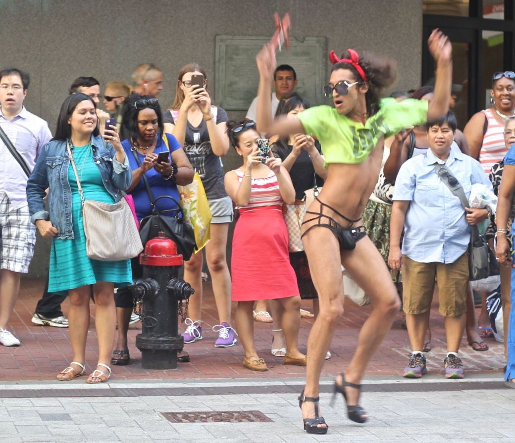 boston downtown crossing man in thong high heels singing dancing in front of macy's 7