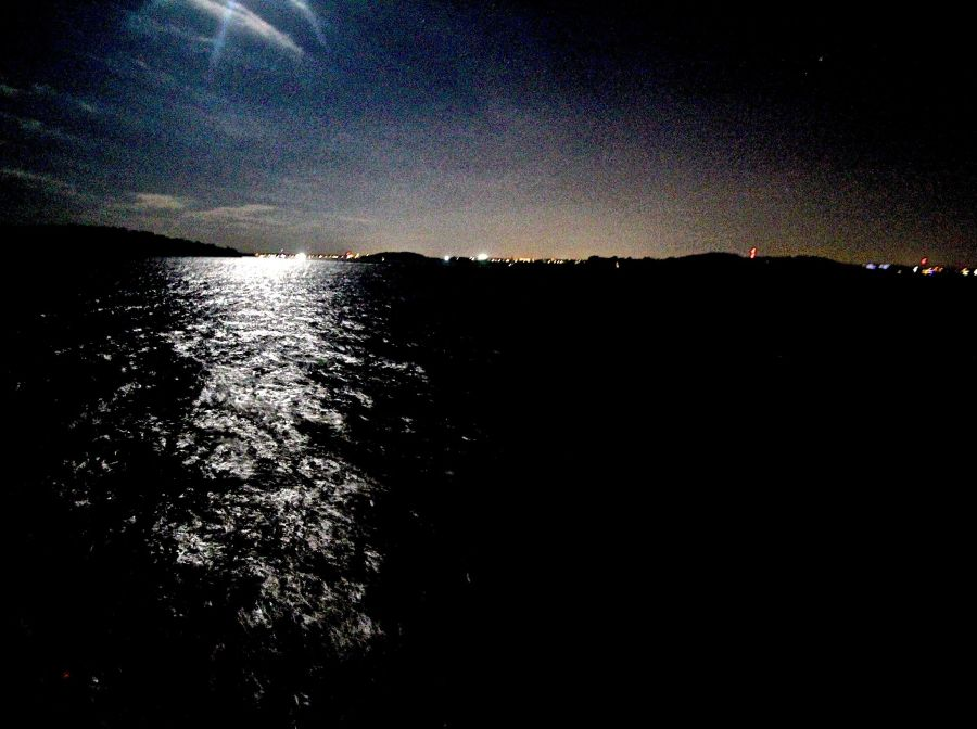 boston harbor night time moon view 2