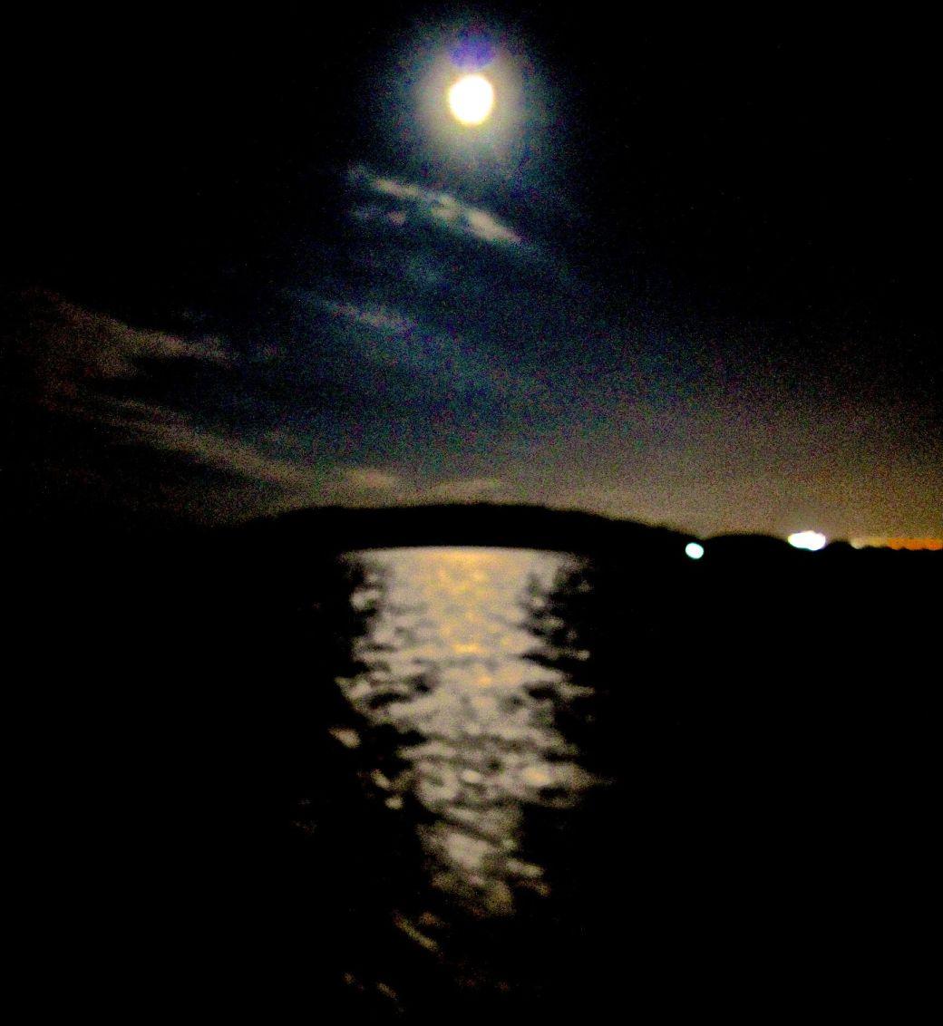 boston harbor night time moon view
