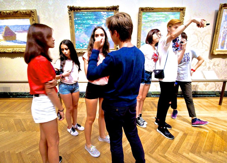 boston museum of fine arts european gallery people taking selfie people standing