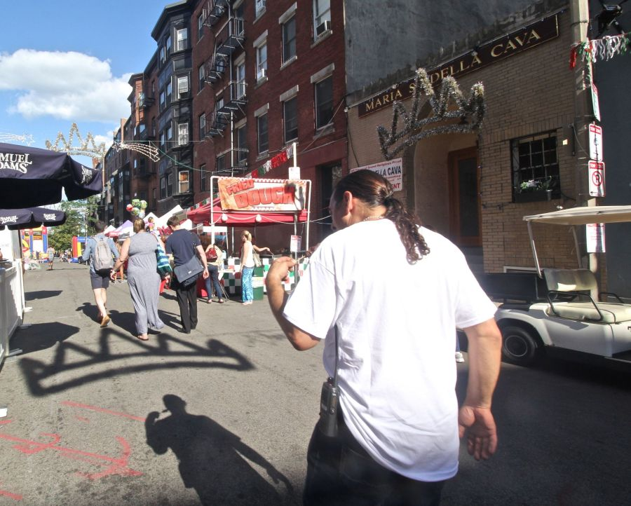 boston north end saint agrippina festival shadow of crown man