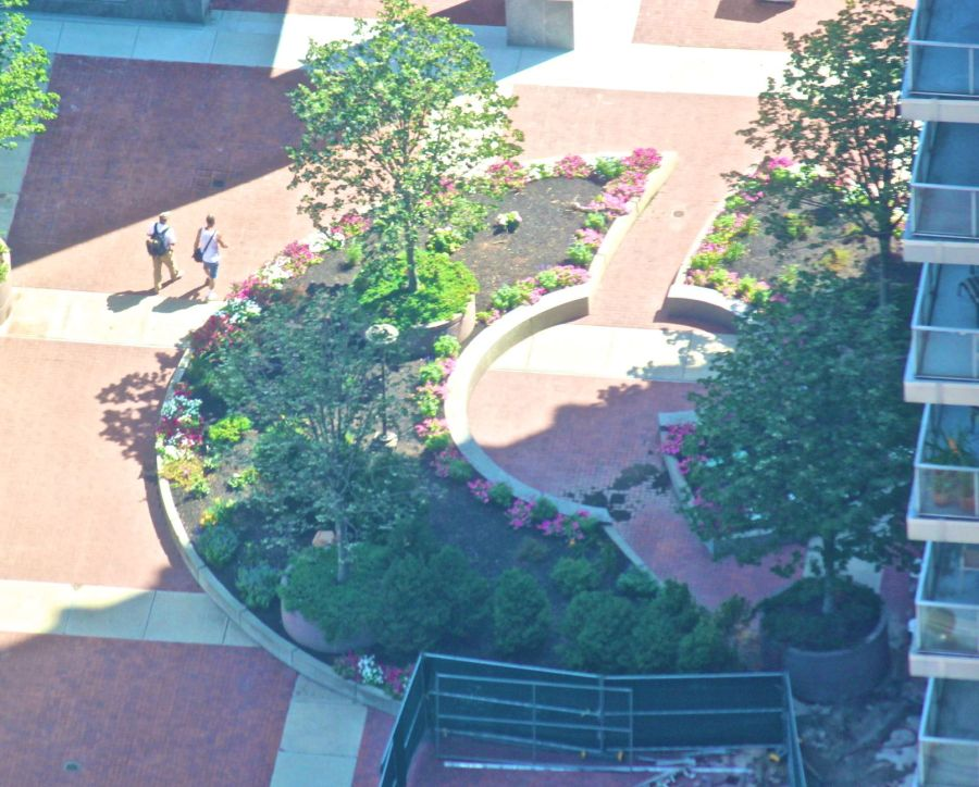 boston prudential center view above garden