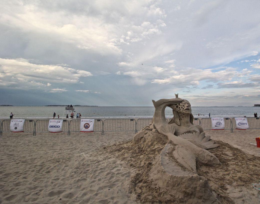 boston revere beach sand sculpture festival clouds woman sculpture