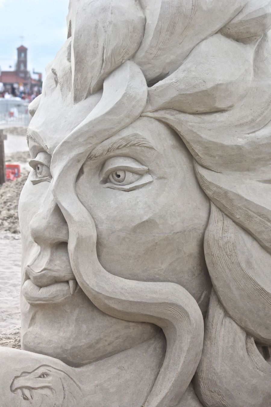 boston revere beach sand sculpture festival face sculpture closeup