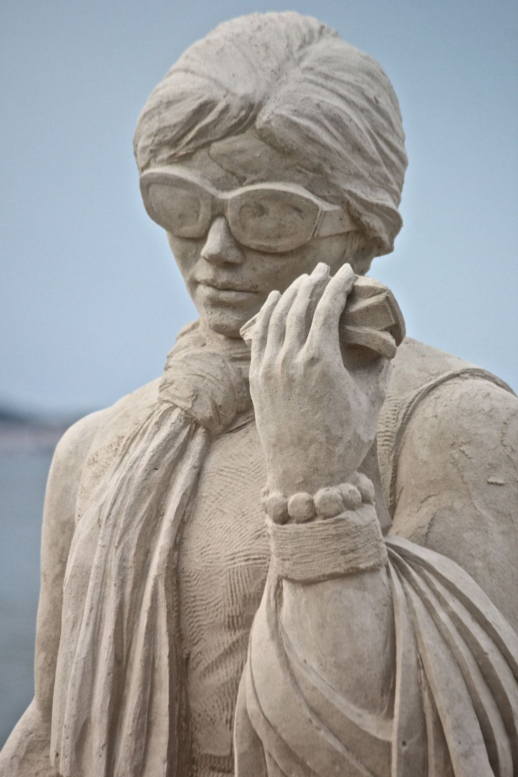 boston revere beach sand sculpture festival happy shopper statue