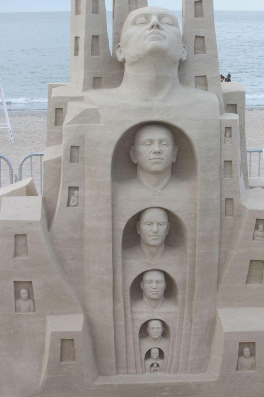 boston revere beach sand sculpture festival heads sculpture
