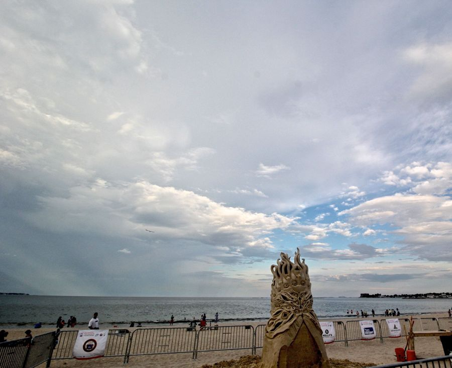 boston revere beach sand sculpture festival medusa sky