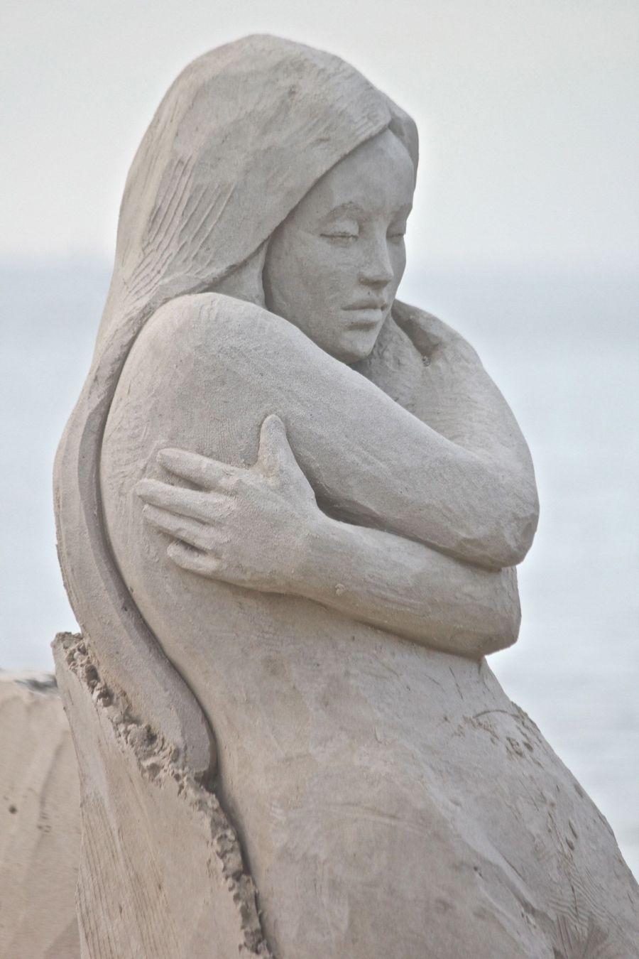 boston revere beach sand sculpture festival sand woman