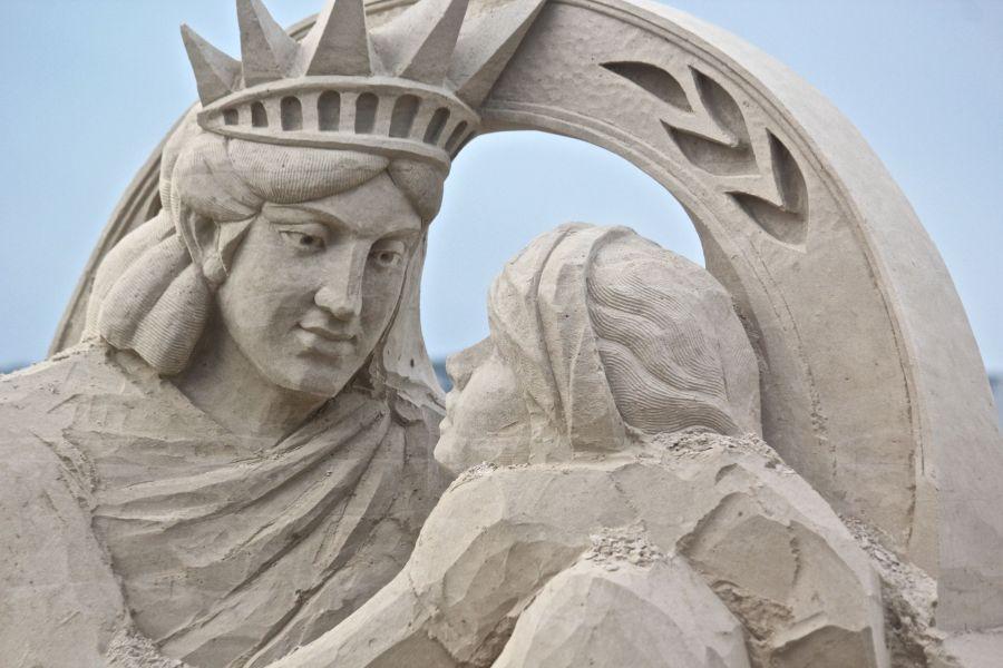boston revere beach sand sculpture festival statue of liberty statue